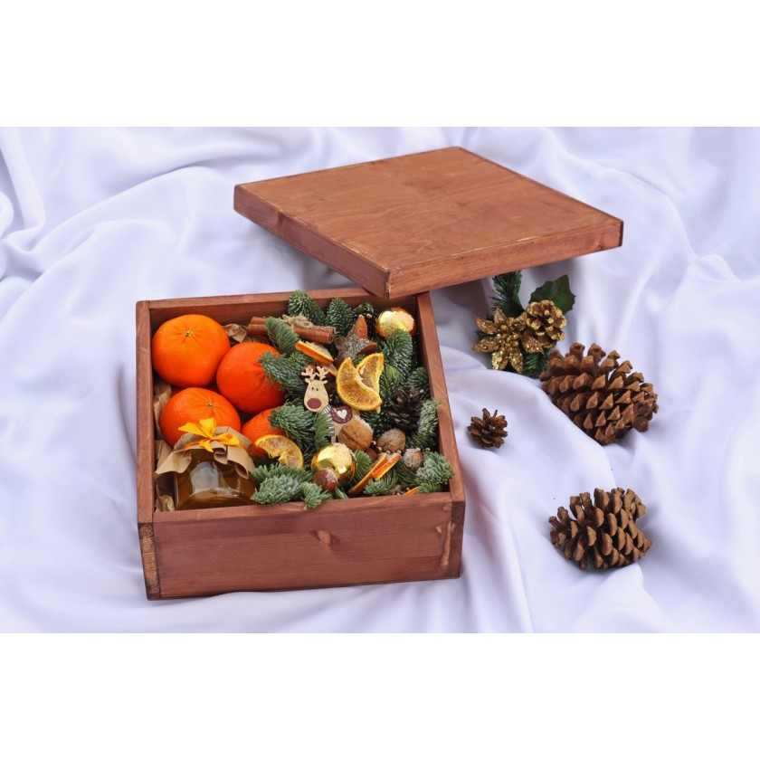 Коробка деревянная рыжая