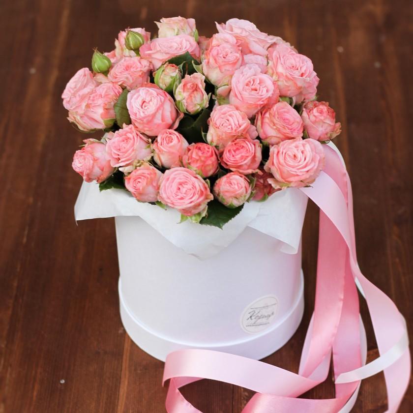 Коробка с нежными розами