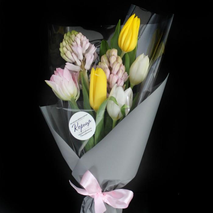 Мини-букет тюльпанов с гиацинтом