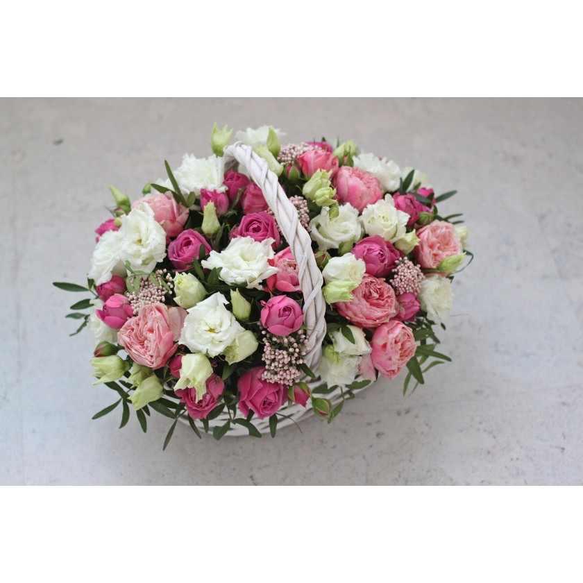 Корзина с пионовидными розами (автор61)