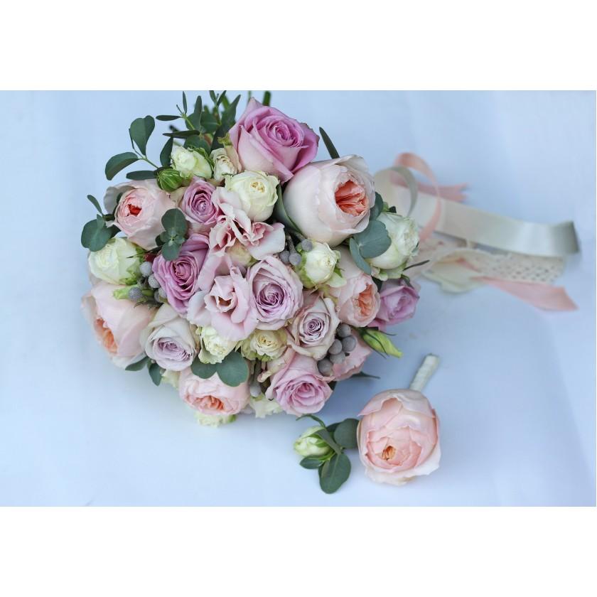 Букет невесты лавандовый